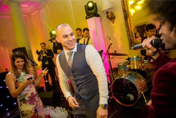 groom dancing with band hedsor tallow