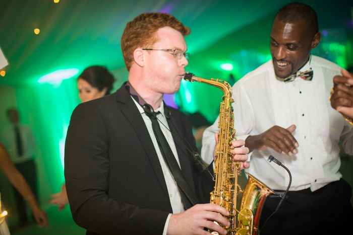 Saxophonist performing at wedding