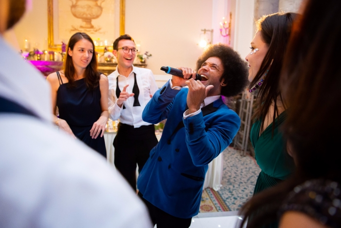 Singer in the crowd at Wedding