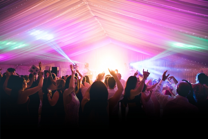 Marquee with party lighting