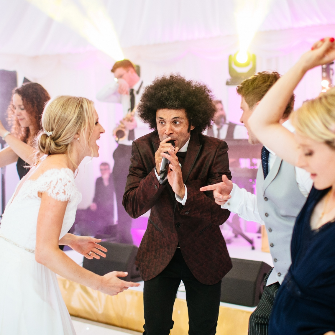 sing on the dance floor at party